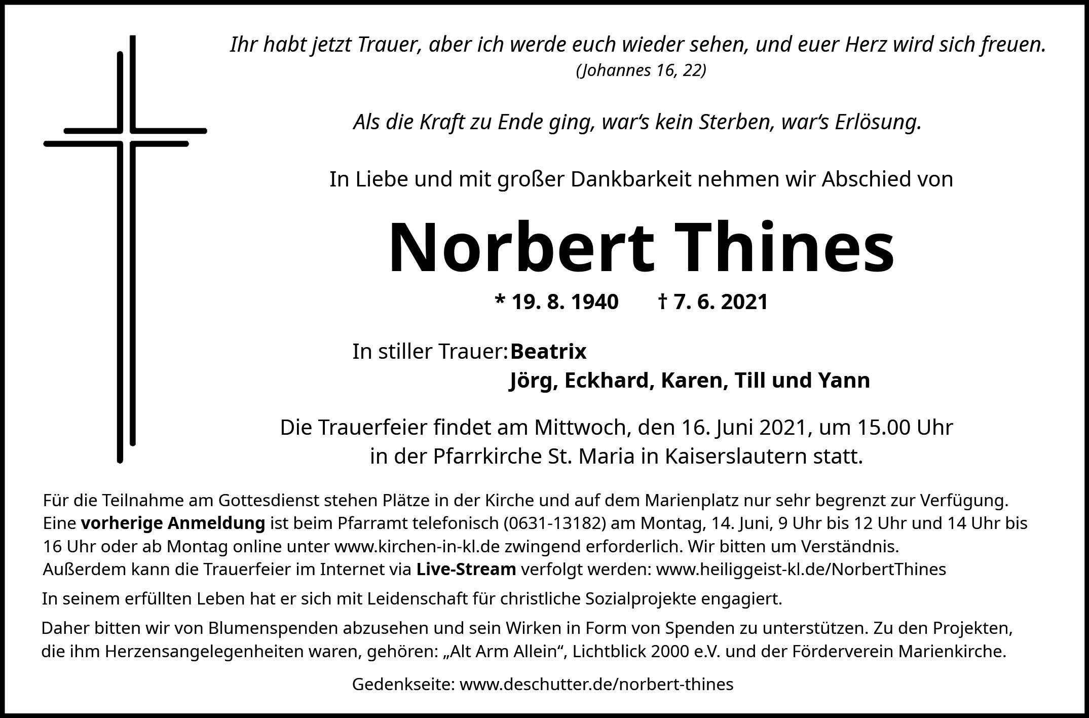 Traueranzeige von  Norbert Thines