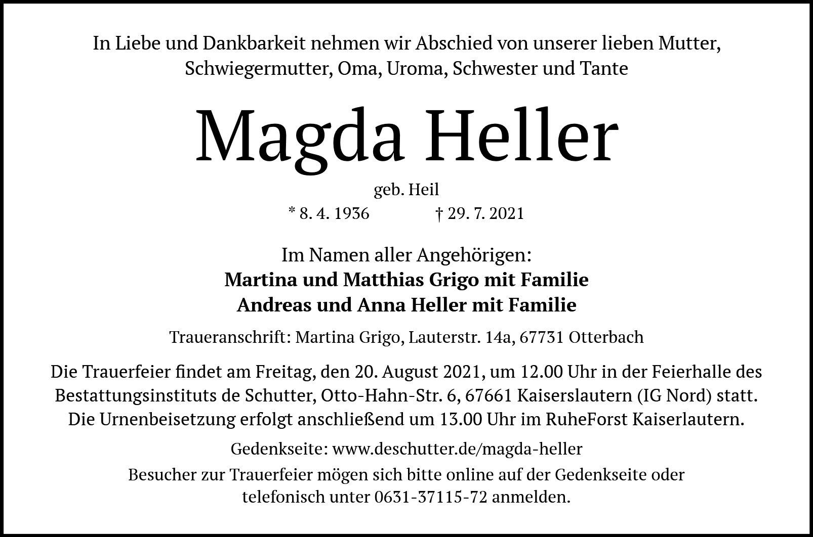 Traueranzeige von  Magda Heller
