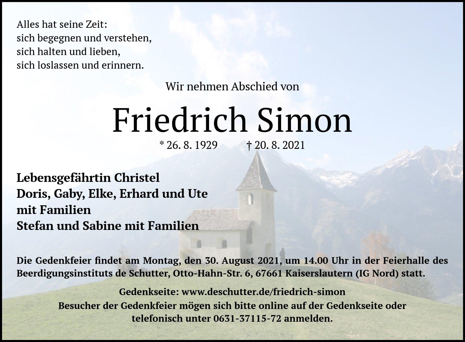 Traueranzeige von  Friedrich Simon